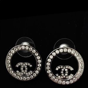AUTHENTIC Chanel Chrystal Silver Earrings